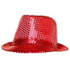 Cappello Borsalino Paillettes Rosso Red Spettacolo Teatro Paillette Ballo Cappellino Raso Uomo Donna Slim