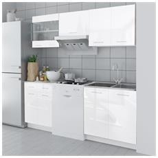 Armadietto Cucina Lucido Bianco 5 Pz 200 Cm