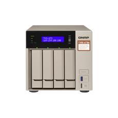 NAS TVS-473e-8G (nome NAS) + 4 Slot 2.5' / 3.5' SATA (numero vani e tipo interfaccia) + Interfacce 4 x Gigabit Ethernet (sono le RJ45) / 2 x USB 3.0