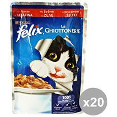 Set 20 Le Ghiottonerie Manzo 100 Gr. Bustina Cibo Per Gatti