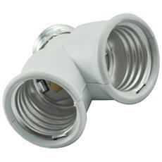Sdoppiatore Portalampade E27 - 2 Uscite E27 X Lampade Risparmio Led