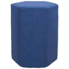 Sgabello Puff Esagonale Blu Tessuto Arredamento Casa Soggiorno