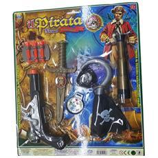 Pirata Corsaro Nero Uncino Bussola Pistola Freccette Coltello Cannocchiale Gioco