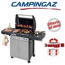 Barbecue A Gas Gpl (Bombola) Campingaz 3 Series Ls Plus 3 Bruciatori + Fornello Laterale Dotato Di Sistema Pulizia In Lavatrice + 3 Omaggi Inclusi