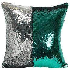 Cuscino A Fantasia Reversibile Con Paillette (taglia Unica) (verde / argento)