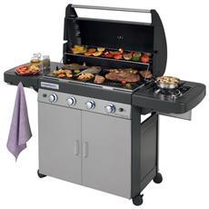 Barbecue A Gas Gpl (Bombola) Campingaz 4 Series Ls Plus 4 Bruciatori + Fornello Laterale Dotato Di Sistema Pulizia In Lavatrice + 3 Omaggi Inclusi