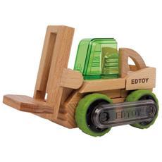 Camion Giocattolo Con Carrello Elevatore In Legno