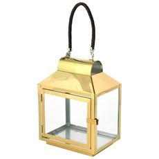 Lanterna Inox Manico Cuoio Oro 20x14xh28 Illuminazione