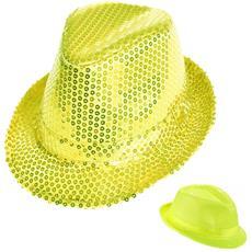 Cappello Borsalino Paillettes Giallo Neon Fluo Spettacolo Teatro Paillette Ballo Cappellino Raso Uomo Donna Slim