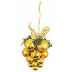 Grappolo Natalizio Appendino, Oro, Plastica, 15x15x17 Cm