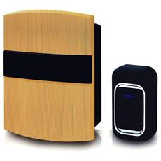 Campanello Wireless Senza Fili Design Legno Universale A Pile 25 Suoni Multimelodico A Led Impermeabile A Distanza 150mt Max