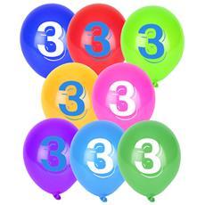 10 Palloncini Colorati Numero 3 Taglia Unica