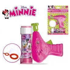 Pistola spara bolle Minnie cartoon incluso flacone 60 ml di sapone specifico bolle