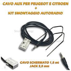 Cavo Audio Aux In Per Autoradio Citroen Peugeot + Kit Chiavi Estrazione Smontaggio Ingresso Jack 3,5mm Schermato Lunghezza 150cm Per Iphone Samsung Mp3