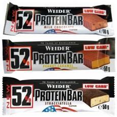52% Protein Bar [24 Barrette Da 50g] Gusto Arachidi & Caramello- Barrette Proteiche