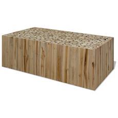 Tavolino Da Caffè In Autentico Legno Di Teak 90x50x35 Cm