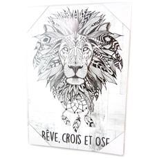 tela 'boho' bianca (sogno, credere e il coraggio) - 34x23 cm - [ p0289]