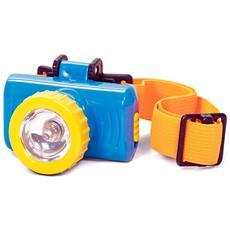 Lampada Frontale Blu Cm 6 5x4x3 5 H Con Fascia Elasticaper Bambini 36 Mesi