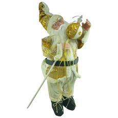 Babbo Natale Carillon Bianco E Oro 70 Cm
