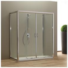 Porta doccia 160 cm modello Giada con 2 porte fisse 80 cm Cristallo trasparente
