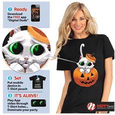 Maglietta Gattino Di Halloween Con Occhi Animati ddtak