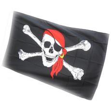 flag 'pirate' rosso nero (90x150 cm) - [ j1620]