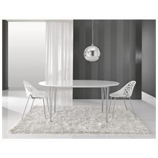 Tavolo Ovale Realizzato In Mdf Verniciato Con Gambe In Acciaio Inox Mod. Elegant Cod. 0866
