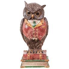 Busto Di Gufo In Resina Dipinto L16xpr15xh34,5 Cm