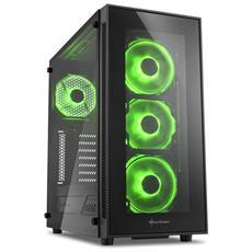 Case TG5 Middle Tower ATX / Micro-ATX / Mini-ITX 2 Porte USB 3.0 Colore Nero / Verde (Finestrato)