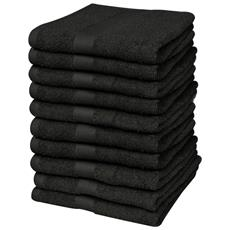 Set 10 Pz Asciugamani Cotone 100% 500 Gsm 30 X 50 Cm Neri