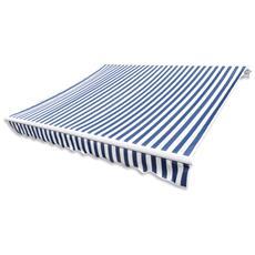Tenda Parasole In Tela Blu E Bianco 3 X 2,5 M (telaio Non Incluso)