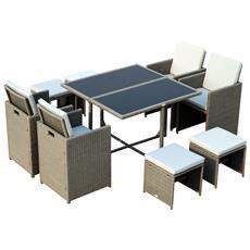 Set Mobili Da Giardino Esterno 9pz Tavolo Con 4 Sedie 4 Poggiapiedi In Rattan Grigio