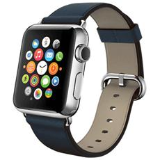 Cinturino WristBand in vera pelle per Apple Watch da 38mm - Blu