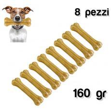 Delizioso Snack 8 Pz Per Cani Di Piccola E Media Taglia A Forma Di Osso 100% Pelle Di Maiale Antistress