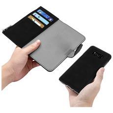 Custodia Galaxy S8 Plus Portafoglio Portacarte Cover Amovibile Forcell - Nero
