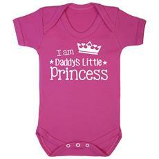 Tutina Manica Corta Con Scritta In Inglese Daddys Little Princess Neonata (12-18 Mesi) (rosa)