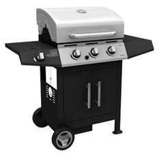 Barbecue a Gas con Fornello e Griglia con Bruciatore in Acciaio 130x53x105 Cm