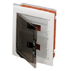 Quadro Di Distribuzione Con Pannelli Finestrati E Telaio Estraibile Porta Trasparente Fumé (18x3) 54 Moduli Ip40