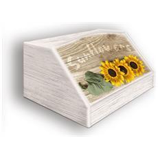 Portapane Con Decoro In 'sunflowers' In Legno Shabby Dalle Dimensioni Di 30x40x20 Cm