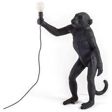 Lampada Da Tavolo In Resina Monkey In Piedi Black Version Anche Per Esterno Dimensioni 46 X 27,5 X H54 Cm