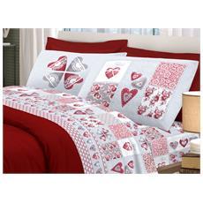 Completo Lenzuola In 100% Cotone Disegno Primavera Matrimoniale Rosso
