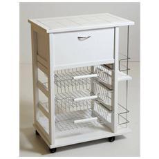 Carrello portafrutta legno massello con portabottiglie cassetti acciaio 59x39x83 bianco