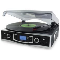 Giradischi con Radio e USB e Funzione di Codifica Colore Nero / Argento