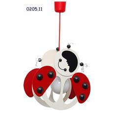 0205.11Lampadario sospensione coccinella cameretta bambini 33cm x 20cm x max 85cm (regolabile)