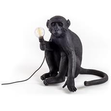 Lampada Da Tavolo In Resina Monkey Seduta Black Version Anche Per Esterno Dimensioni 34 X 30 X H42 Cm
