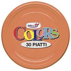 Piatti In Plastica Col. Arancio 22cm Dopla 30pz