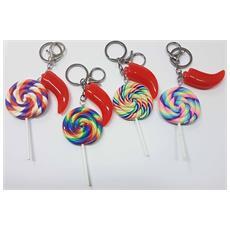 Set 6 Pezzi Bomboniera Bomboniere Candy Lollipop Lecca Lecca Corno Colorati Portafortuna Compleanno Portachiavi Colore Casuale