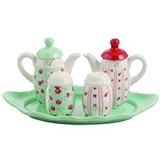 Rosita Menage 5 Pezzi, Ceramica, Verde Acqua, 30 X 13.5 X 17.5 Cm
