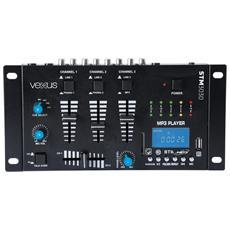 Mixer analogico con display e Bluetooth 3 4 canali con lettore Mp3 tramite USB e SD