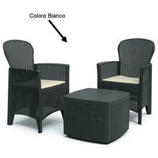 Set da Giardino 2 Poltrone 1 Tavolino Con Cuscino Bianco - Modello Tree